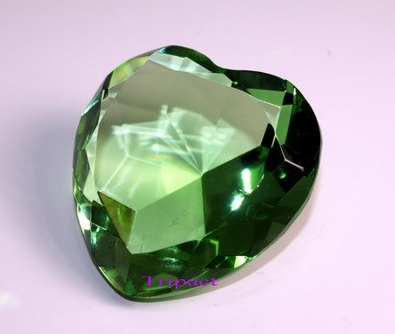 (Tripact 60mm Original Green Heart Crystal Diamond Jewel Crystal Paperweight 3.25 Inch)