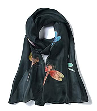 Invisible World Women's 100% Mulberry Silk Scarf Hand Painted Dragonfly Black