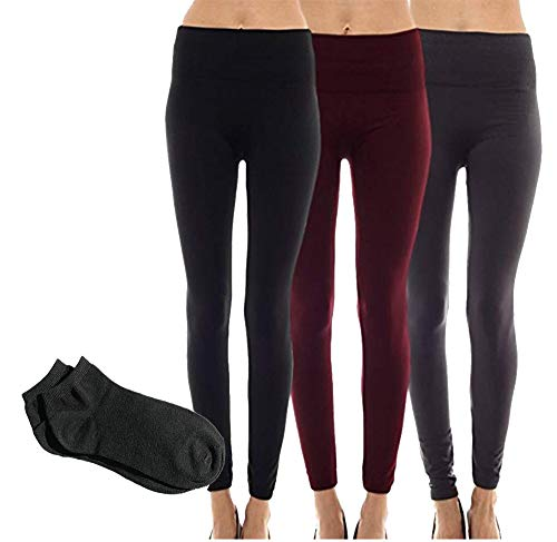 Sofra Women's Classic High Waisted Wide Band Yoga Fleece and Regular Value Pack Leggings (Plus Size (XL-3XL)