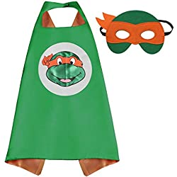 Whoopgifts Superhero Cape with Mask for Kids Girls and Boys Birthdays Cosplay Party Favors (TMNT-Michelangelo)