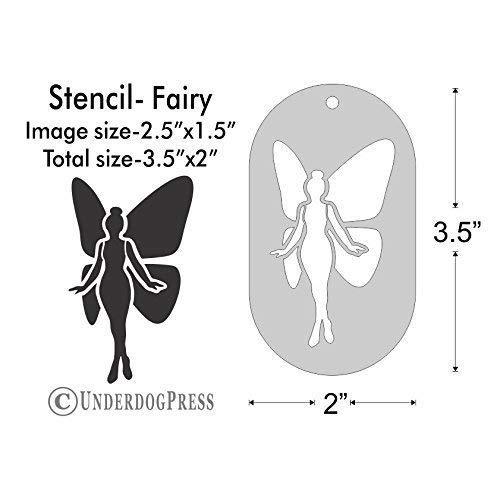(Stencil - Fairy, Image Size 2.5x1.5 on 3.5x2 Border)