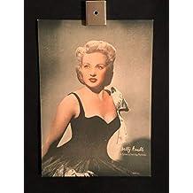 Original 1940's Betty Grable Movie Publicity Photo Card 3x5 Color Fox Pictures, Vintage Movie Publicity Poster Photo, Photograph