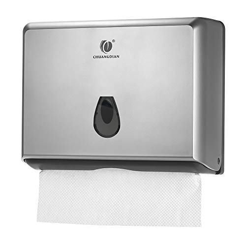 (BBX Lephsnt Commercial Paper Towel Dispenser, CHUANGDIAN Wall-Mounted Bathroom Tissue Dispenser (Silver))