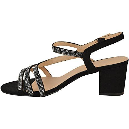 Fashion Thirsty heelberry Mujer Tacón Bajo Sandalias Diamante Para Fiesta y Boda Negro Talla Negro Ante Artificial