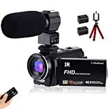 CofunKool Ultra HD 42MP Video Camera 1080P Camcorder 3.0 Inch 270° Rotation IPS Touch Screen YouTube Vlogging Camera with External Microphone Mini Tripod Support TV USB Output