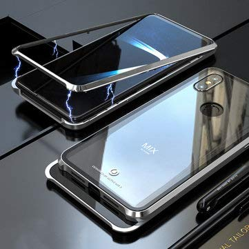 360° Adsorption Upgraded Version Tempered Glass & Metal Flip Protective Case for MIX 3 - Xiaomi Cases Covers Xiaomi Mi Mix Series Cases - (Silver) - 1 Flex 2 -
