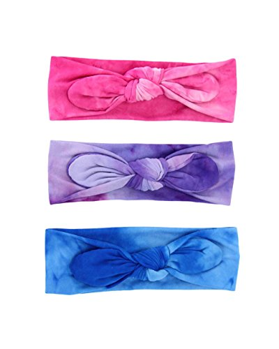 Cotton Baby Tie-dye Headband Knot Turban Rabbit Bunny Ears Knotted Hairband JB06 (3ps-Set)