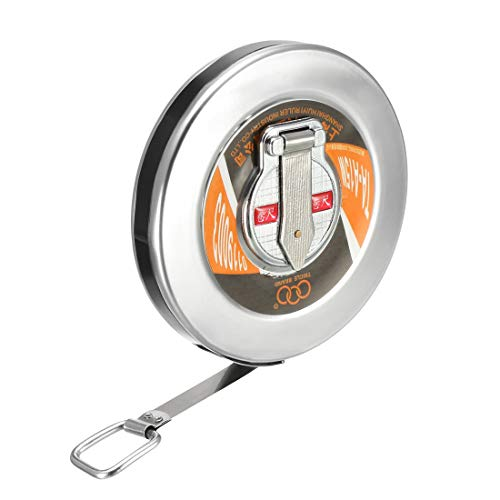 uxcell 15M Length Round Steel Case Retractable Measure Tape Metric Slive -