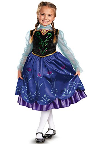Girls Disney Frozen Anna Deluxe Costume, One Color, X-Small/3T-4T
