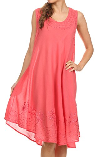 Sakkas 1051 Everyday Essentials Caftan Dress/Cover Up - Coral - One Size - Length Tea Nightgown