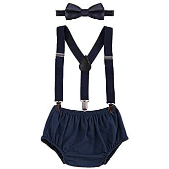 Baby Boys Cake Smash Outfit First Birthday Bloomers Bowtie Suspenders Clothes Set Navy One Size