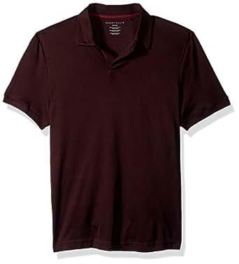 Perry Ellis Men's Short-Sleeve Cotton-Blend Open Polo Shirt, Port, Small