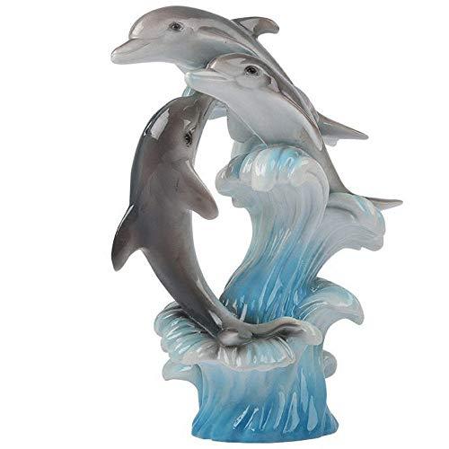 WY-BUILD Escultura Abstracta Animales, esculturas estatuas decoración Delfines, Estatua decoración Sala Estar, Adecuada para Dormitorio, Estudio, gabinete Vino, Oficina, Regalo Arte,Grey por WY-BUILD