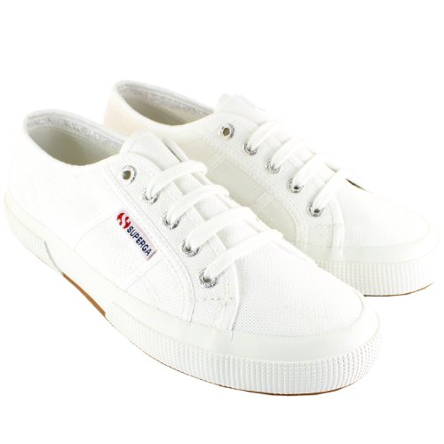 Womens Superga 2750 Cotu Classic Canvas Low Cut Retro Plimsoll Trainers - White - 9.5