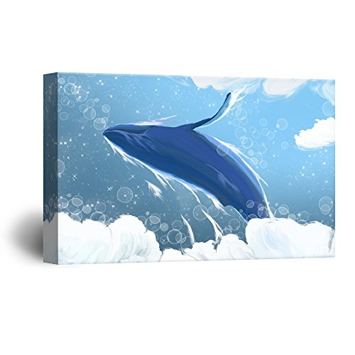 Hand Drawing Style Blue Whale Jumping above the Ocean