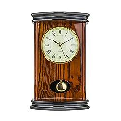 Mantel Clock 13.0 H x 8.0 L x 9.0 W Quartz, Pendulum Clock, Decorative Shelf Clock, Fireplace Wood Antique Vintage Clocks, Battery Operated (Battery NOT INCLUDED)