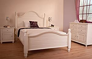 white wood bed frame chunky strong solid wooden sturdy bedstead double or king 4ft6 or 5ft - White Wood Bed Frame