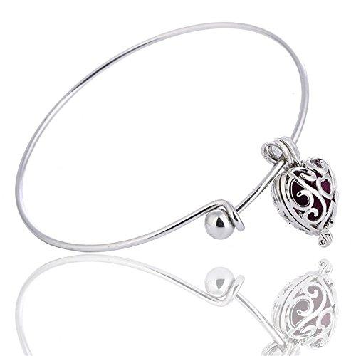 al Oil Diffuser Lava Stone Bracelet Hollow Heart Vintage Silver Locket Expandable Bangle ()