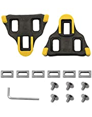 Suiwotin Bike Cleats Compatible with Look Delta Pedals Cleat Set, Road Bike Cleats Self-Locking Cycling Pedals Cleat for Shimano SH-11 SPD-SL System Shoes (6 Degree Float, Yollow)