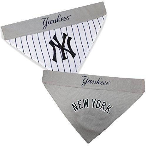 Pets First YAN-3217-S-M MLB New York Yankees Reversible Pet Bandana, Small/Medium, MLB Team Color - New York Yankees Dog Bandana