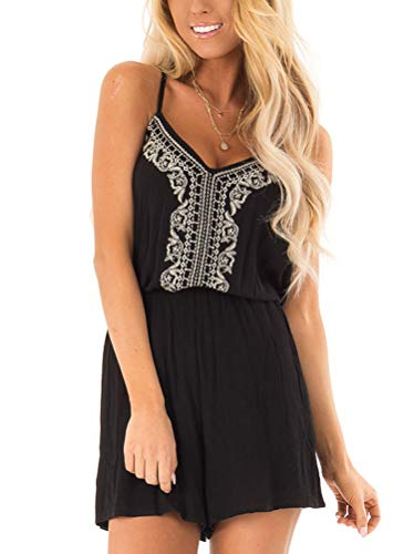 Classic Embroidered Romper - Dressmine Womens Summer Embroidered V Neck Spaghetti Strap Short Jumpsuit Rompers Backless Black Small 4-6
