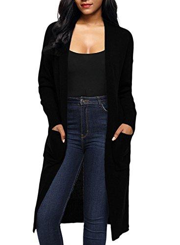 Chase Secret Womens Kimono with Pocket Casual Open Front Drape Cardigan X-Large Black