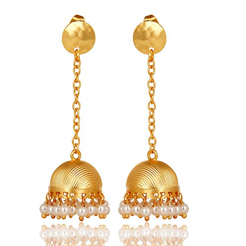 ON SALE- Traditional 14K Yellow Gold Plated Pearl Beads Women Jhumka Earrings Indian Wedding Jewelry