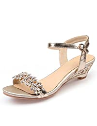 Carolyn Jones New 2017 Summer Sexy Crystal Bling Medium Heels Shoes Woman Wedges Sandals Party Dress Shoes