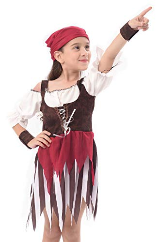 IKALI Baby Toddler Girl Pirate High Seas Buccaneer Costume Party Decoration Toy Kids Pretend Play Pirate Fancy Dress (6-8Y) by IKALI (Image #2)