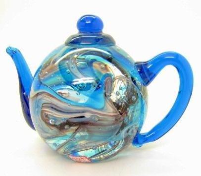 "T-Pot Teapot Glass Unusual Paperweight Art Glass 3.5"" Ink Swirl"