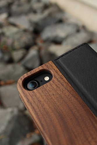 + LUMBER by Hacoa PL057 Wooden iPhone Case for iPhone 8/7 with Flip Cover (Walnut) 6 Hard case made with natural wood and corner bumper to protect your smartphone. Made to fit your iPhone 7 (4.7inch) offering a full access to all buttons. Flip cover with premium wood normally used in fine cabinetwork has a card slot.