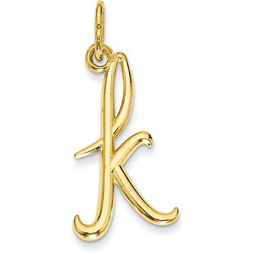 14k Yellow Gold Cursive Script Lower-case Initial Pendant - Letter K 14k Yellow Gold Letter