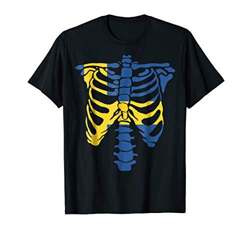 Skeleton Sweden Flag Shirt Halloween Gifts