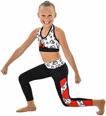 7ae1f6dd261724 Big Girls Red White Black Stripe Heart Print Victoria Dancewear Leggings  7-14