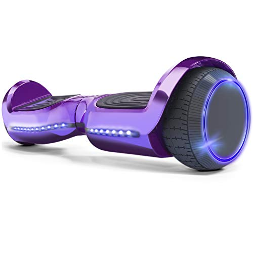 XtremepowerUS 6″ Self-Balancing Scooter Hoverboard LED Bluetooth Speaker SGS Certified Purple Hover Board for Kids and Adults