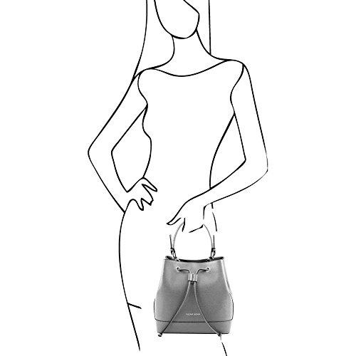 Tuscany Leather - Minerva - Sac secchiello pour femme en cuir Saffiano - Beige