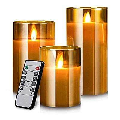 """Yinuo Mirror LED Flameless Candles, Real Wax Moving Effect Flickering Glod Glass Candles Set, Pillar Battery Operated Candles with Timer Remote,4"""" 5"""" 6"""" Pack of 3"""
