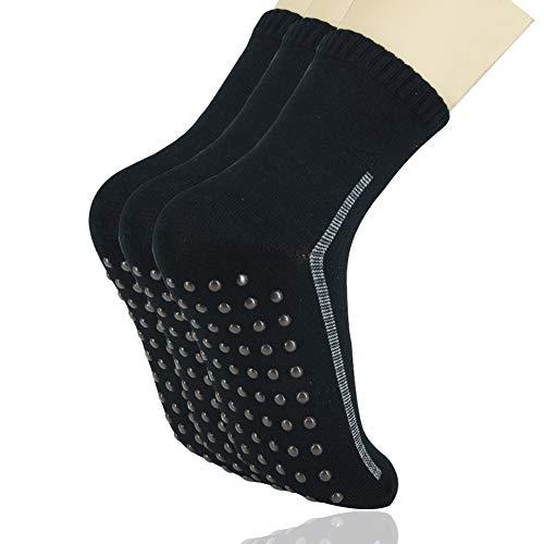 BIZAR Bamboo Fiber Soft Magnetic Point Foot Massage Socks Non Slip Socks Women Hospital Slipper Socks (Black(3 Pair)) ()