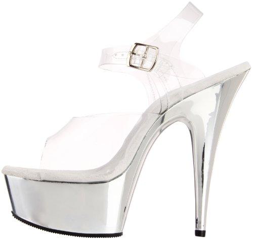 Sandalias Clear Delight Para Pleaser 608 silver Mujer TxEXSxqBwW