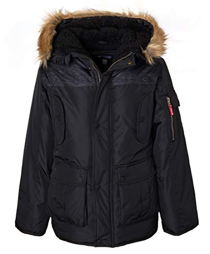 (Sportoli Boys' Heavy Fleece Lined Winter Puffer Parka Coat Jacket Fur Trim Hood - Black (Size 10/12))