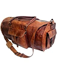 Jaald 24 Genuine Leather Mens Duffel bag Gym Sports Travel Weekend Duffle Bag.