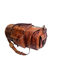 Jaald 24 Genuine Leather Mens Duffel Gym Sports Travel Weekend Duffle Bag.