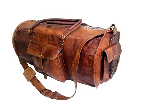 Jaald 24  quot  Genuine Leather Mens Duffel bag Gym Sports Travel Weekend  Duff. ‹ › 15c4ca112c