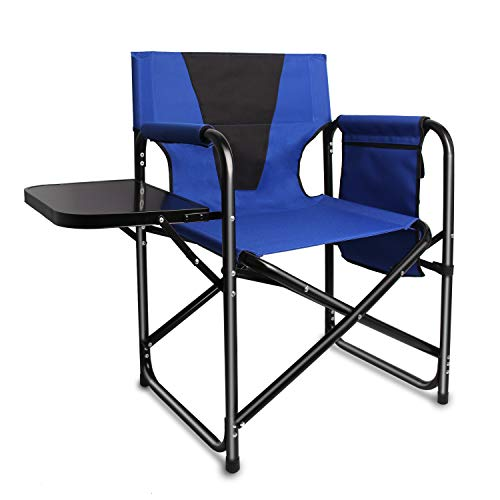 Camping Folding Director's Chair - Full Back Aluminum Lightweight Chair Supports 300lbs with Aluminum Side Table Storage Bag Indoor Outdoor,Weight 8.37 lbs