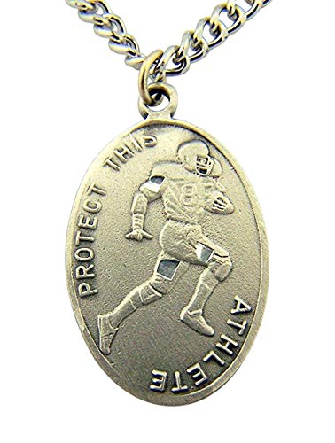 WJH Football Saint Sebastian Pewter Medal on 24 Continuous Chain, Double-Sided Medal