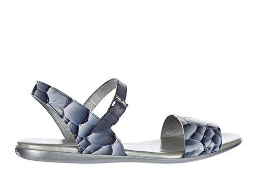 Sandales Hogan Pour Femme En Cuir Bleu D'origine
