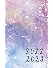 """2022-2023: Monthly planner & Calendar, small pocket size 5x8"""" (2 Years : January 2022 up to December 2023) : Appointments / Organizers / To Do List (Mandala on watercolor cover 4)"""