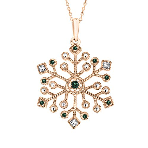 KATARINA Emerald Snowflake Pendant Necklace In 14K Rose Gold (1/8 cttw)