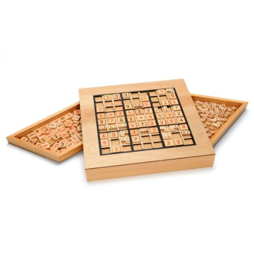 Deluxe Wooden Sudoku Puzzle with Wooden Number and Thinking Tiles by WE Games