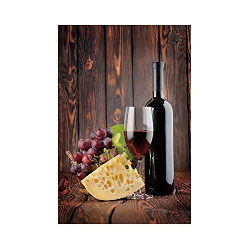 (Polyester Garden Flag Outdoor Flag House Flag Banner,Wine,Red Wine Cabernet Bottle and Glass Cheese and Grapes on Wood Planks Print Decorative,Brown Burgundy Cream,for Wedding Anniversary Home Outdoor)